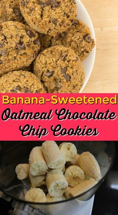 These Banana-Sweetened Oatmeal Chocolate Chip cookies are a super healthy snack or treat. Gluten-free recipe, gluten-free baking, healthy cookie recipe, vegan oatmeal cookies www.carrieonliving.com/