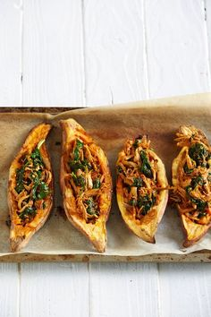 A quick and easy family dinner from our new Healthy Family Meals Cookbook. Mexican Chicken and Sweet Potato Boats - I Quit Sugar. Healthy Family Meals, Healthy Snacks, Healthy Recipes, Whole30 Recipes, Healthy Eats, Potato Boats, Mexican Chicken, No Sugar Foods, Sugar Free Recipes