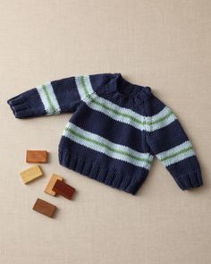 Free Knitting Pattern Crewneck Baby Sweater Lion Brand® Martha Stewart CraftsTM/MC Cotton Hemp Pattern #: L10201