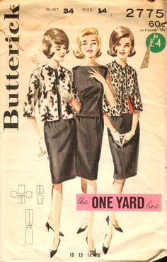 """Butterick 2775 coordinates 1 yard line--each piece is made from 1 yard of 54"""" fabric--cardigan, sleeveless blouse, & pencil skirt"""