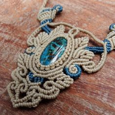 Macrame Necklace Pendant Cabochon Chrysocolla Stone Cotton Waxed Cord Handmade…