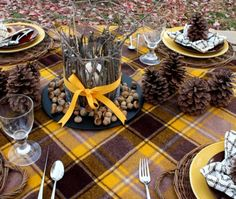 Sweet Something Designs: Charlie Brown Thanksgiving Table Setting in Browns & Yellows, Pinecones, Twigs, etc.