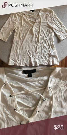 Topshop Lace Up TShirt (8) Selling a rarely worn off white lace up top from Topshop. Great condition. Topshop Tops Tees - Short Sleeve