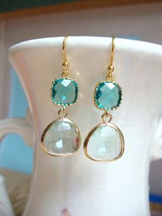 Cool Green and Teal Blue Glass Dangle Earrings. Beach Wedding.
