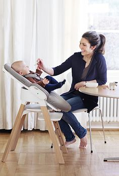 Comfortable, safe seating from birth – the innovative Stokke Steps, all-new & coming soon to Right Start (pictured: with Stokke Steps bouncer)