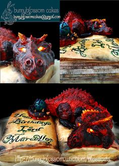 Bunnyblossom cakes' fierce dragon cake. The dragon is sleeping on an old book cake.