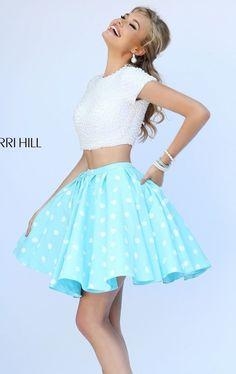 Polka Dot Short Sleeved Dress by Sherri Hill