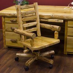 Cedar log office chair. To match a log desk