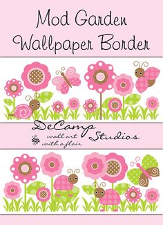 Mod Garden Wallpaper border wall decals for baby girl ladybug nursery, children's butterfly bedroom decor, or any home decorating ideas #decampstudios