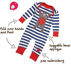 Piccalilly organic bear applique playsuit