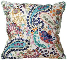 "Colorful Paisley 18"" Square Decorative Accent Pillow - EuroStyleLighting.com"