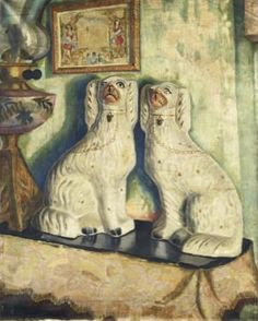 Dora Carrington (England Staffordshire Dogs, oil/canvas, Sold at auction. Dora Carrington, Staffordshire Dog, Dog Day Afternoon, Bloomsbury Group, Dog Poster, Pottery Art, Doge, Canvas, Drawings