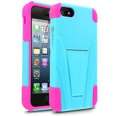 Cellairis Warrior Case for Apple iPhone 5 - Neon Blue/Neon Hot Pink