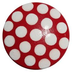 Red with White Polka Dot Knobs