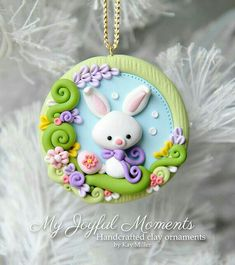 Handcrafted Polymer Clay Easter Bunny Scene Ornament by Kay Miller. Polymer Clay Ornaments, Polymer Clay Figures, Cute Polymer Clay, Polymer Clay Animals, Cute Clay, Fimo Clay, Polymer Clay Projects, Polymer Clay Charms, Polymer Clay Creations