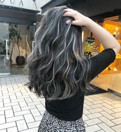 Best Picture For dark hair styles color For Your Taste You are looking for something, and it is goin Black Hair With Grey Highlights, Black And Grey Hair, Hair Color For Black Hair, Black Hair With Blonde Highlights, Dark To Silver Hair, Ash Grey, Charcoal Hair, Candy Hair, Hair Streaks