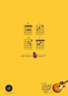Utiliza tu talento de la manera correcta. #CreatividadPublicitaria para clases de #guitarra ¡Genial! #Música