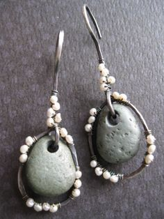 Stone and pearl earrings c 2010~~
