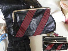 Vintage leather purse and gloves / Vintage leren beursje en handschoenen