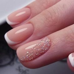 Accurate nails, Birthday nails, Delicate spring nails, French manicure with pattern, French nails with rhinestones, Manicure on the day of lovers, Ring finger nails, Stylish nails