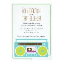 Shop Retro Boombox Indie Mixtape Wedding Blue / Lime Invitation created by poptasticbride. Hipster Wedding, Wedding Blue, Wedding Music, Affordable Wedding Invitations, Custom Invitations, Nontraditional Wedding, Boombox, Envelope Liners, Mixtape