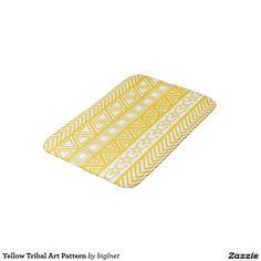 Yellow Tribal Art Pattern Bath Mats