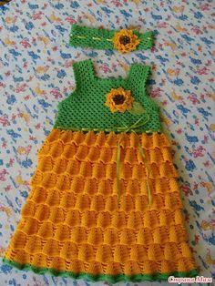 Sunflower Crochet Baby Dress