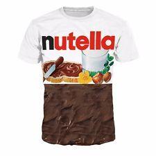 New 3D Women Men Funny T-Shirt Nutella Chocolate Cool Fashion Half Casual Yumi