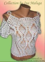 Crochet white summer blouse ♥LCT-MRS♥ with diagrams. Crochet Fall, Crochet Woman, Knit Crochet, Crochet Tank Tops, Crochet Blouse, Crochet Headband Tutorial, Ladies Tops Patterns, Pineapple Crochet, Thread Crochet