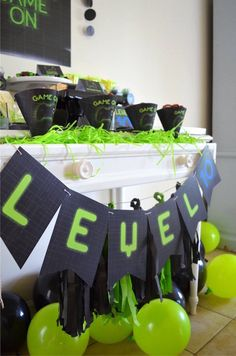 """Level 10"" banner from a Gaming + Video Gamer Birthday Party on Kara's Party Ideas 