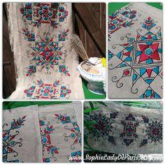 Large Folk Linen Fabric Hand Embroidered Vintage Rustic Linen Scandinavian Art Sewing Project Curtain Runner Pillow Case #sophieladydeparis