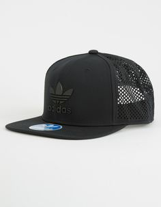 Adidas Beacon trucker hat. Rubberized Adidas logo on front. Laser cut mesh  back. Adjustable snapback. 78% polyester 20% cotton 2% spandex. Imported. 458dc98b5cf