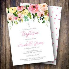 Christening Favors for Girls Personalized Floral Baptism Book Mark Favors Printable Peach Orange Roses Baptism Favors Girl Printed