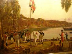 United Kingdom of Great Britain union flag raising by Arthur Philip of the First Fleet at Port Jackson, January 1788, claiming the east coast of Australia.