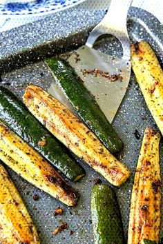 Learn how to cook zucchini the absolute best way! Roasted Zucchini is an easy, oven baked recipe perfect all year round. Golden, roasted summer squash is flavored with garlic and seasonings for a healthy side dish everyone will devour! Baked Summer Squash, Roasted Zucchini And Squash, Zucchini In The Oven, How To Cook Zucchini, Roasted Garlic, Recipe For Roasted Zucchini, Oven Roasted Squash, Lemon Zucchini, Vegan Zucchini Recipes