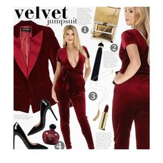 One and Done: Jumpsuits by beebeely-look on Polyvore featuring Alexandre Vauthier, Prada, Kevyn Aucoin, Christian Dior, NightOut, Heels, velvet, jumpsuits and DesirVale