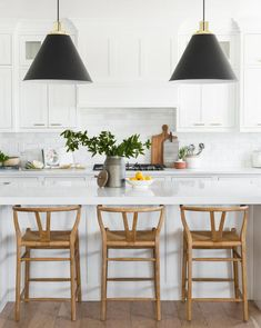 LOVE these counter stools and natural material contrast to polished white kitchen (Gabriel Counter Stool – McGee & Co. Home Decor Kitchen, Interior Design Kitchen, New Kitchen, Home Kitchens, Kitchen Dining, Kitchen Ideas, Kitchen Counter Stools, Kitchen Black, Kitchen Designs
