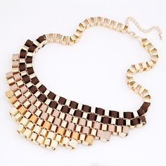 Gold Brown Triple Tone Color Statement Necklace