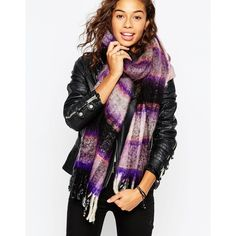 ASOS Brushed Pretty Check Scarf featuring polyvore, fashion, accessories, scarves, pink and blue, fringed shawls, pink scarves, asos, woven scarves and blue scarves