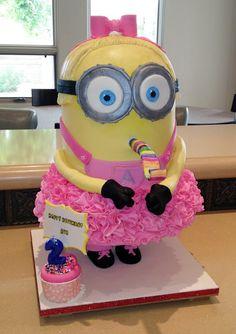"""Angel Cakes Bakery: Girly """"Minion Me"""" Cake"""