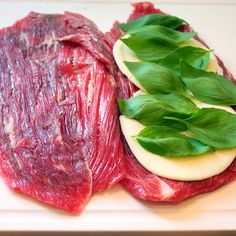 OMGOSH!  1.5 pound Flank Steak, butterflied  salt and pepper to taste  2 Tablespoons balsamic vinegar  3-4 slices provolone cheese, depending on the size of your steak  about 15 fresh basil leaves Steak Recipes, Cooking Recipes, Healthy Recipes, Yummy Recipes, Beef Steak, Flank Steak, Pork, Pinwheel Recipes, Gastronomia