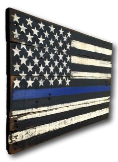 Thin Blue Line Flag/ Thin Blue Line Wood Flag/ by PalletsandPaint