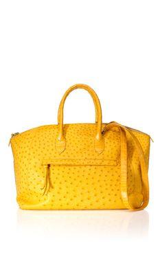 Shop Nancy Gonzalez Large Yellow Ostrich Tote at Moda Operandi Best Handbags, Gucci Handbags, Purses And Handbags, Nancy Gonzalez, Mellow Yellow, Beautiful Bags, Handbag Accessories, Leather Bag, Shoe Bag