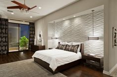 Amazing Stylish Bedroom Lighting Ideas In Ceiling Including Round Pendant Lamp The Bedside Along With Artistic White Wall And White Bedding Set Also Hanging Fan Ideas Stylish Bedroom Lighting Ideas for Daily Use Bedroom design