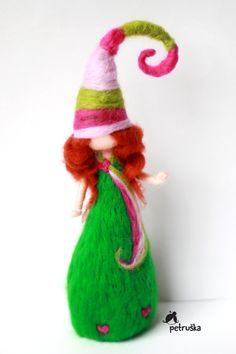 redhead dwarf in green, needle felted waldorf inspired, home decor, wool felt, made to order