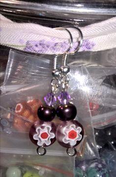 purplish flower earrings