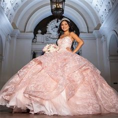Looking for the Fascinating Sweetheart Lace Puffy Quinceanera Dresses Rose Gold Quinceanera Dresses, Mexican Quinceanera Dresses, Mexican Dresses, Quinceanera Party, Lace Ball Gowns, Ball Dresses, Prom Dresses, Formal Dresses, Elegant Dresses