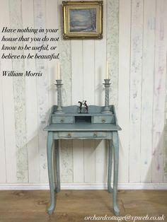 Small French-style desk, painted in Annie Sloan Chalk Paint Duck Egg Blue and Country Grey, and sealed/aged with her waxes.