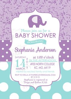 Girls baby shower invitations modern purple by papercleverparty