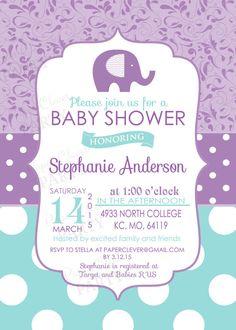 Daisy Gray Girls Baby Shower Invitation Grey Soft Pink And Purple